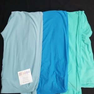 3 Pack Aqua Blue Green Lularoe TC Leggings - NWOT